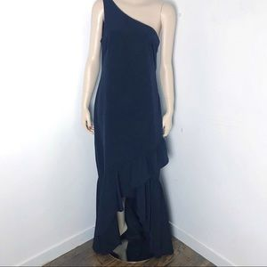 Vince Camuto full length gown one shoulder ruffle